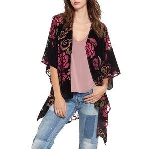 Woven Heart Floral Velvet Kimono